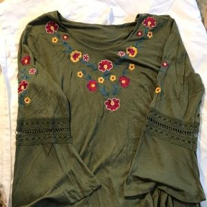 Green embroidery top